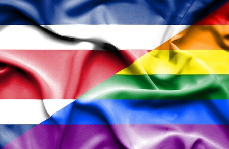 costa rica: Waving flag of LGBT and Costa Rica