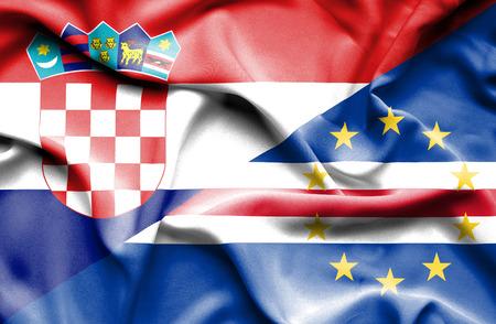 verde: Waving flag of Cape Verde and Croatia Stock Photo