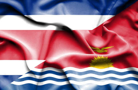 costa: Waving flag of Kiribati and Costa Rica