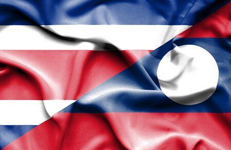 laos: Waving flag of Laos and Costa Rica