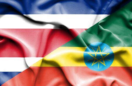 costa rica: Waving flag of Ethiopia and Costa Rica