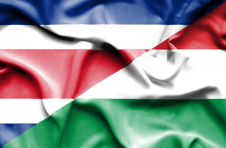 costa: Waving flag of Hungary and Costa Rica