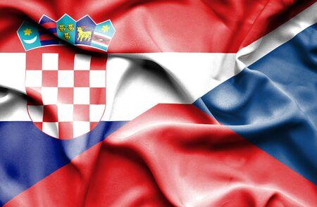 the czech republic: Waving flag of Czech Republic and Croatia Stock Photo