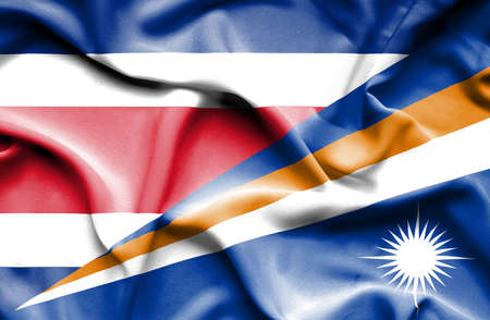 marshall: Waving flag of Marshall Islands and Costa Rica