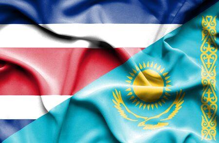 costa rica: Waving flag of Kazakhstan and Costa Rica Stock Photo