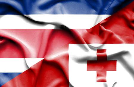 costa: Waving flag of Tonga and Costa Rica