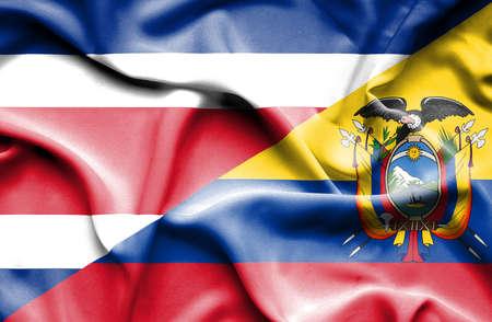 costa rica: Waving flag of Ecuador and Costa Rica
