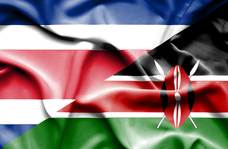 kenya: Waving flag of Kenya and Costa Rica