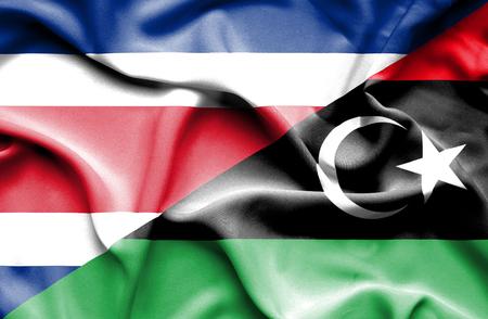 rican: Waving flag of Libya and Costa Rica