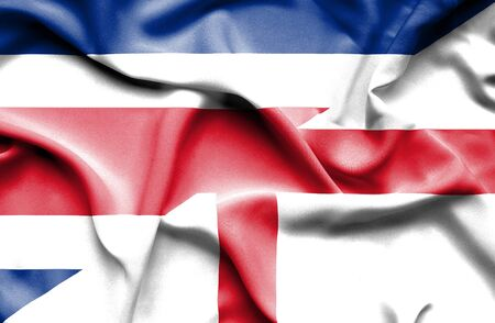costa rica: Waving flag of England and Costa Rica