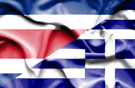 costa: Waving flag of Greece and Costa Rica
