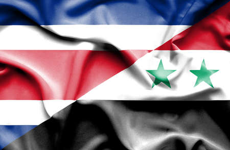 costa rica: Waving flag of Syria and Costa Rica
