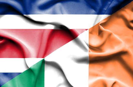 costa: Waving flag of Ireland and Costa Rica Stock Photo