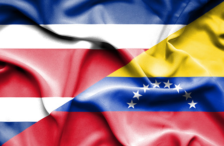 costa rica: Waving flag of Venezuela and Costa Rica Stock Photo