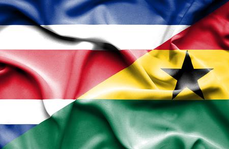 costa rica: Waving flag of Ghana and Costa Rica