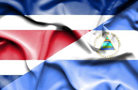 costa: Waving flag of Nicaragua and Costa Rica