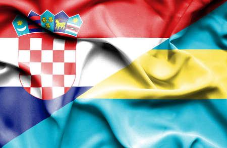 bahamas: Waving flag of Bahamas and Croatia