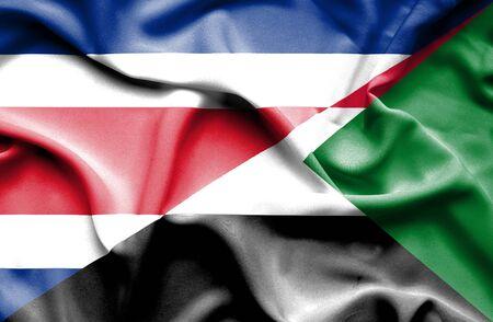 rican: Waving flag of Sudan and Costa Rica