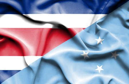 costa: Waving flag of Micronesia and Costa Rica