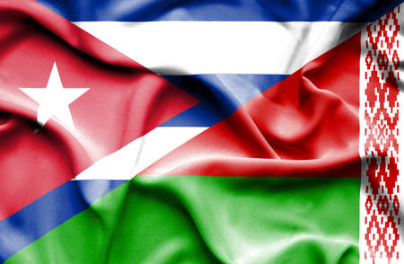 cuban flag: Waving flag of Belarus and Cuba