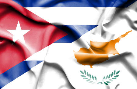 cuban flag: Waving flag of Cyprus and Cuba