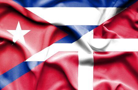 flag of cuba: Waving flag of Denmark and Cuba