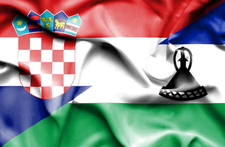 lesotho: Waving flag of Lesotho and Croatia Stock Photo