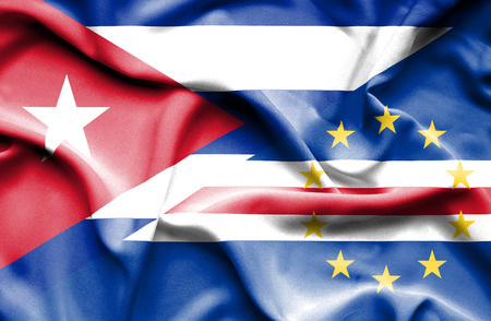 verde: Waving flag of Cape Verde and Cuba Stock Photo
