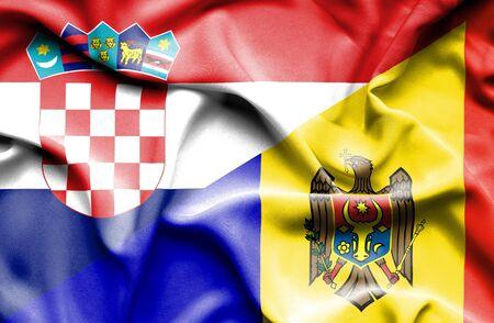 moldavia: Waving flag of Moldavia and Croatia
