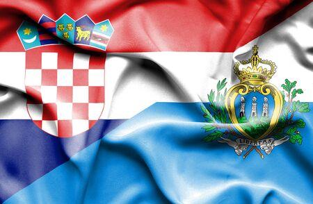 san marino: Waving flag of San Marino and Croatia