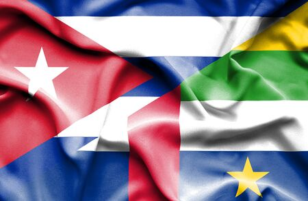 central african republic: Waving flag of Central African Republic and Cuba