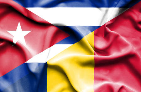 cuban flag: Waving flag of Chad and Cuba
