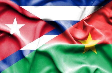 burkina faso: Waving flag of Burkina Faso and Cuba