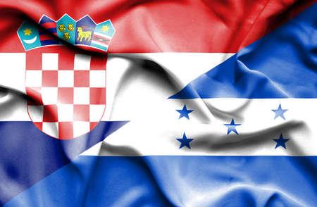 honduras: Waving flag of Honduras and Croatia Stock Photo
