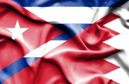 bahrain money: Waving flag of Bahrain and Cuba Stock Photo
