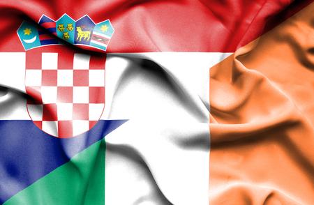 ireland flag: Waving flag of Ireland and Croatia Stock Photo