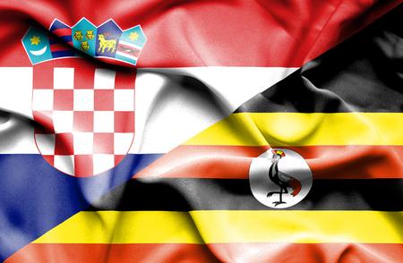 uganda: Waving flag of Uganda and Croatia Stock Photo