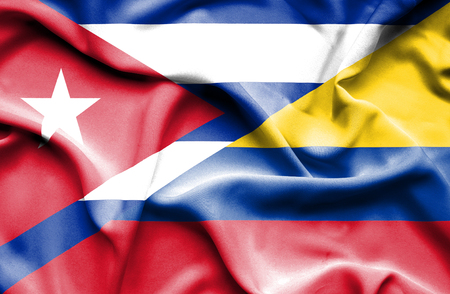 columbia: Waving flag of Columbia and Cuba