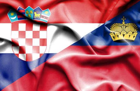 lichtenstein: Waving flag of Lichtenstein and Croatia