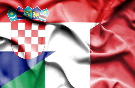 italy background: Waving flag of Italy and Croatia