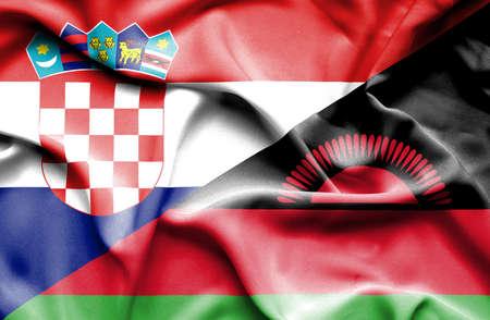 malawian flag: Waving flag of Malawi and Croatia Stock Photo