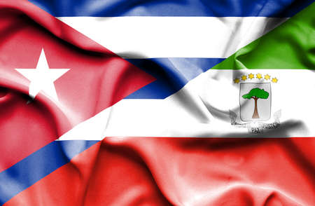 cuban flag: Waving flag of Equatorial Giuinea and Cuba Stock Photo