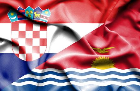 kiribati: Waving flag of Kiribati and Croatia