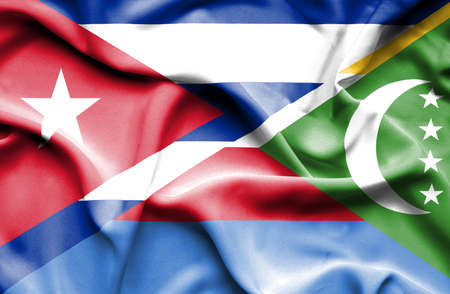 comoros: Waving flag of Comoros and Cuba