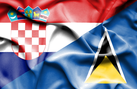 st lucia: Waving flag of St Lucia and Croatia Stock Photo