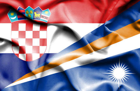 marshall: Waving flag of Marshall Islands and Croatia Stock Photo