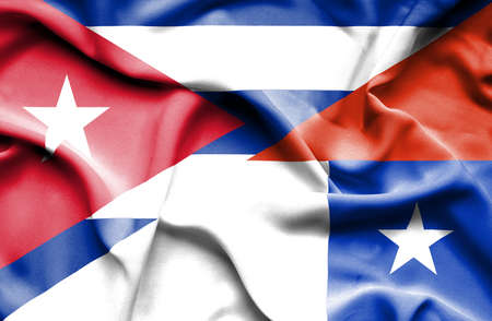 cuban flag: Waving flag of Chile and Cuba