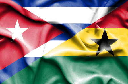 cuban flag: Waving flag of Ghana and Cuba Stock Photo