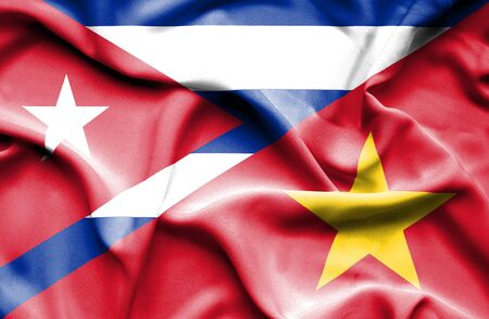cuban flag: Waving flag of Vietnam and Cuba Stock Photo