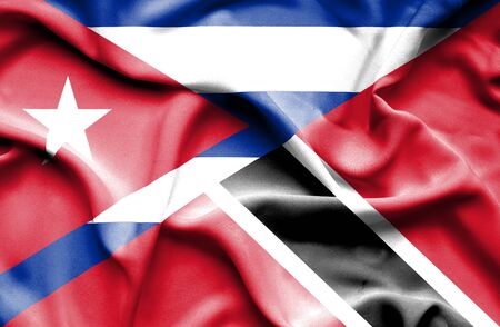 cuban flag: Waving flag of Trinidad and Tobago and Cuba